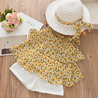 Girl Set Floral Chiffon Halter + Embroidered White Shorts Straw Hat Set of 3