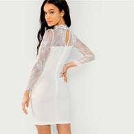 White Lace Contrast Mock Neck Long Sleeve Solid Dress