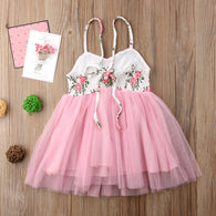 Sleeveless Lace Floral Party Tutu Tulle Dress