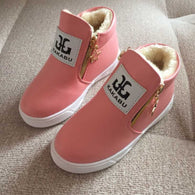 Anti Slip Leather Snow Boots For Girls