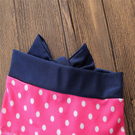 Dots Bow Vest Tops + Shorts + Headband