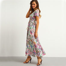 Button Split Front Flare Beach Wear Boho Maxi Dress