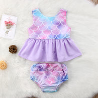 Mermaid Vest Tops Dress + Shorts Pants Set