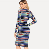 Multicolor Striped Geometric Pencil Dress