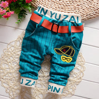 Fashion Fall Plaid Casual Print Hat Belt Pants