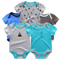 5pcs/  Baby Romper Short Sleeve Summer Boys Clothing set