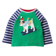 Tops Cotton Applique Animals T-shirts For Christmas