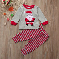 Christmas Santa Tops + Stripe Pants Outfit