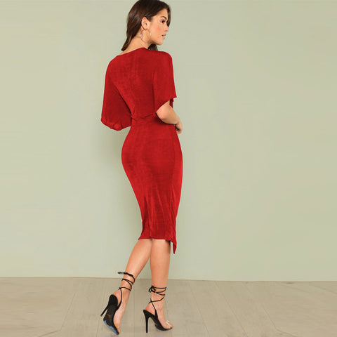 Red V Neck Twist Front Half Sleeve Split Sexy Bodycon Dress