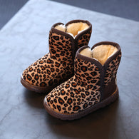Snow boots Unisex Coffee Warm Leopard Print