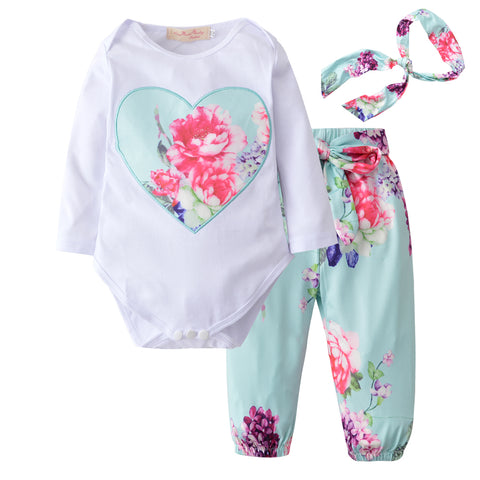 Long Sleeve Tops T-shirt + Floral Pants + Head Band