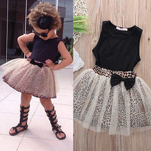 Black Sleeveless Round Collar Top + Leopard Lace Skirt