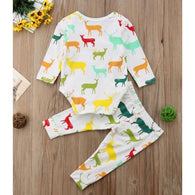 Cartoon Colorful Fawn print 2PCS Suit Toddler Costume