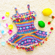 One Piece Swim Suit colorful Print