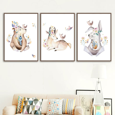 Watercolor Owl Rabbit Deer Bear Wall Art Canvas Painting Nordic Posters And Prints Animals Wall Pictures Baby Kids Room Decor