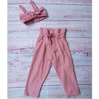 Pullover Sleeveless Bowknot Tops + Bow Stripes Pants