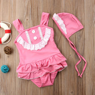 Suit Lace Ruffled Beachwear + Ha