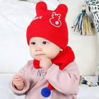 Beanie Cartoon Infant Hat + Ball Scarf