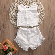 Flower Crochet Lace Tops + Shorts