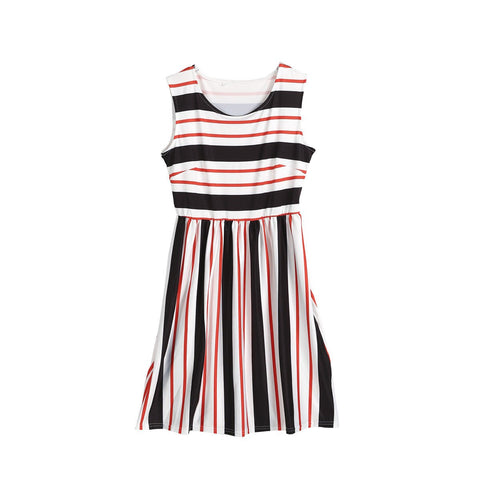 Sleeveless Mini Sundress Striped Dress