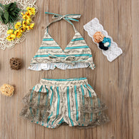 Beachwear Lace Ruffled 3Pcs Swimsuit