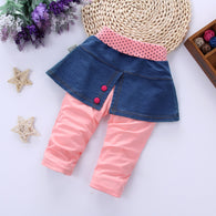 Cotton Splice Denim Skirt Pants