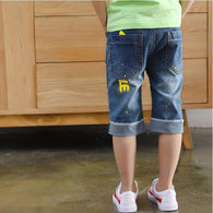 casual letters print short jeans for boys