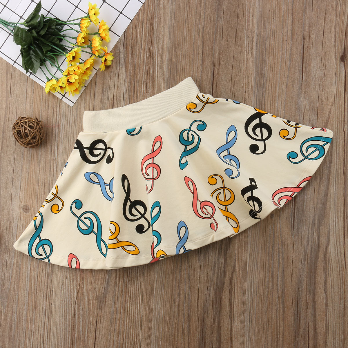2018 Brand Cotton Musical Note Printed Skirt
