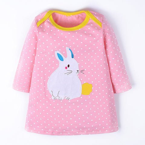 Applique Bunny Long Sleeve Dress