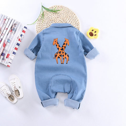 Denim Animal Printing Long sleeves Jumpsuit