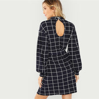 Elegant Office Lady Mock Neck Self Belted Grid Long Sleeve Dress