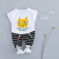 New Children Clothing Cartoon Set tshirt+Striped Cotton