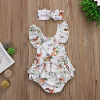 Ruffles Deer Romper Back Cross Jumpsuit