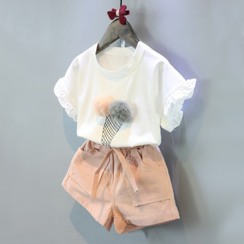 Flower Design Short Sleeve T-shirt + Double Pocket Pants