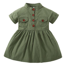 2018 New Baby Girls Dress Army Green Short Sleeved