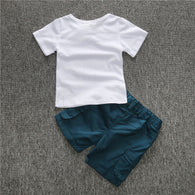 Cotton Letter Short Sleeve O-neck T-ShIrt And Short Pants