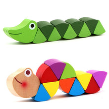 Colorful Wooden Worm Puzzles, Educational Baby Toys