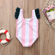 Baby Girls Cartoon Striped One-Piece Bathing Suit