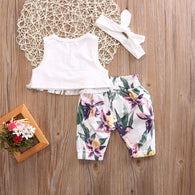 Cute Sleeveless Tassel Crop Tops Vest + Floral Printed Pants