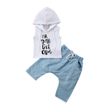 Letter Vest Hooded Top Harem Denim Pants