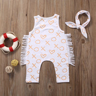 Cotton Sleeveless Tassel Romper Playsuit + Headband 2PCS