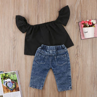 Off shoulder Black T-shirt Tops + Ripped Jeans