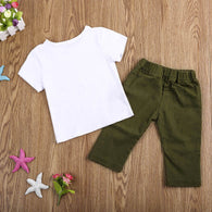 Clothing Set Short Sleeve Eyelash T-shirt + Army Stretch Pants