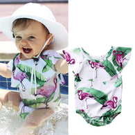 Kids Summer swimwear Baby Girl Flamingo One piece