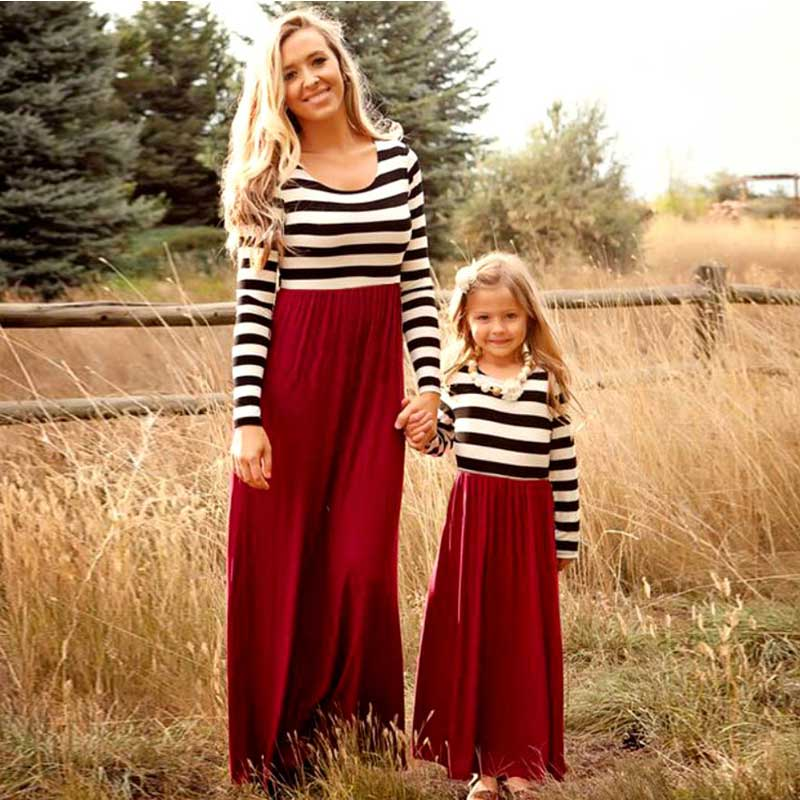 Striped Long Sleeve Patchwork Mom And Daughter Dress