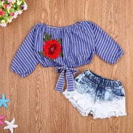 Off shoulder Striped Embroidery Rose Flower Crop Tops + Denim Shorts