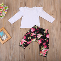 Baby Girls Floral ruffles Lace T-shirt + Floral Harem Pants