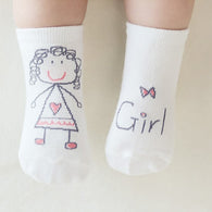 Newborn Baby Socks Cotton Boys Girl print Cute Toddler Anti-slip Socks  Kids Cartoon Socks