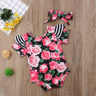 Summer Baby Girl Kids Floral Striped Romper
