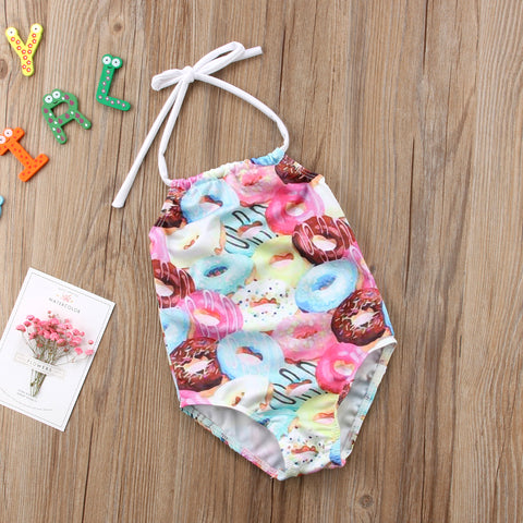 Girls Swimwear Cute Doughnut Print One-piece